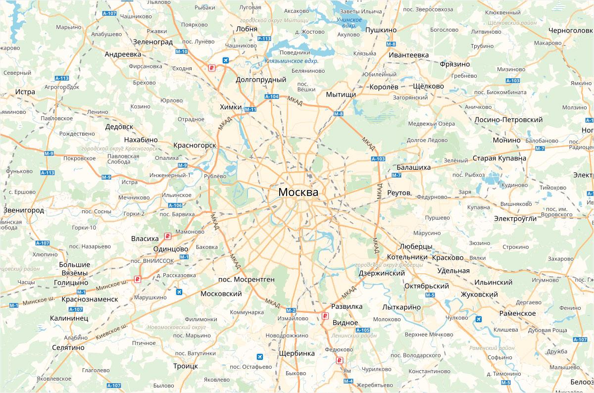 карта москвы и московской области с районами и округами